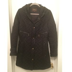 Cole Haan black quilted coat with leather trim